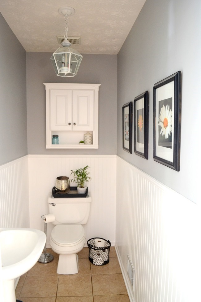 gray and white half bathroom