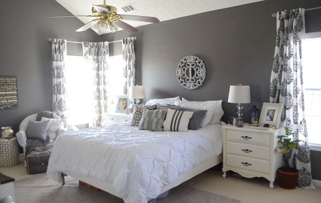 gray and white master bedroom