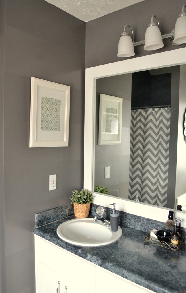 dark gray master bathroom