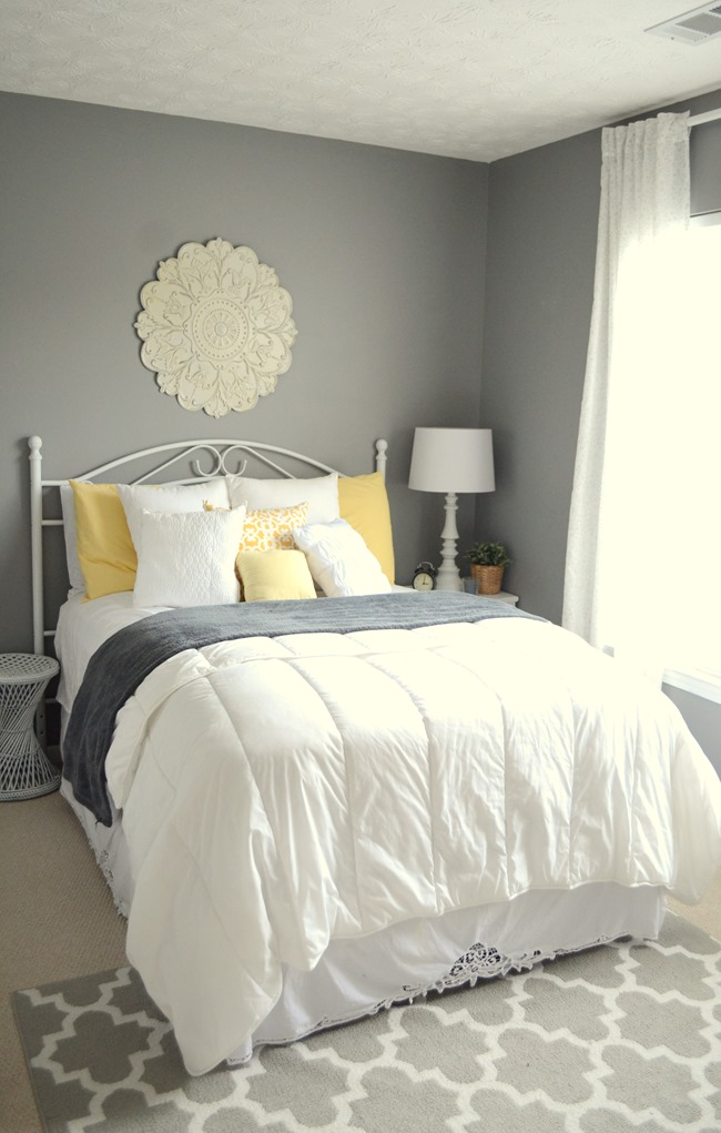 gray and yellow guest bedroom