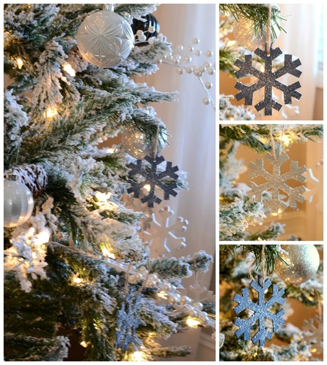Silver and blue Christmas ornaments