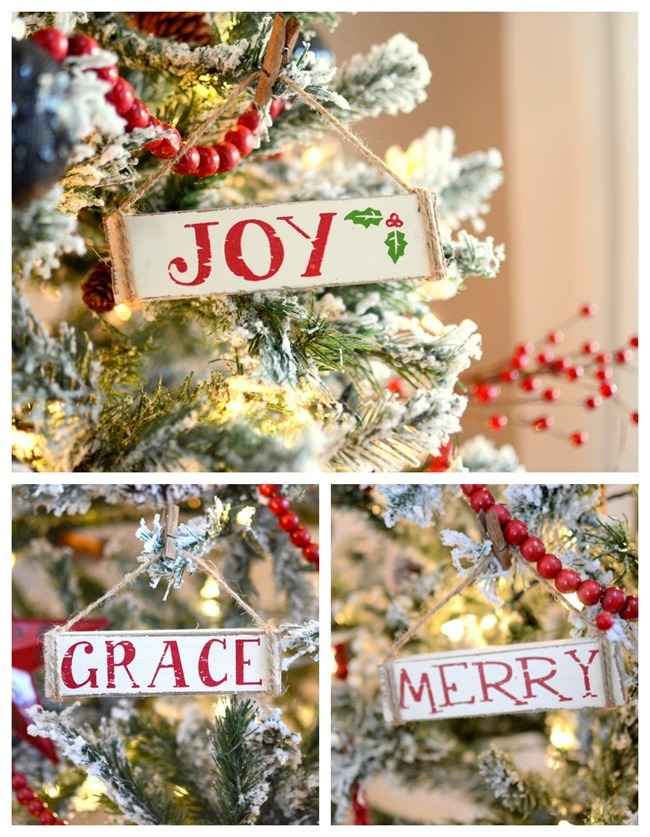 white wood painted sign Christmas ornaments