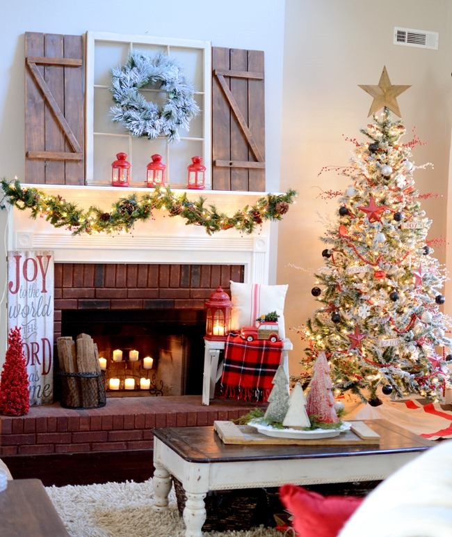 Christmas Living Room + Farmhouse inspired Christmas tree