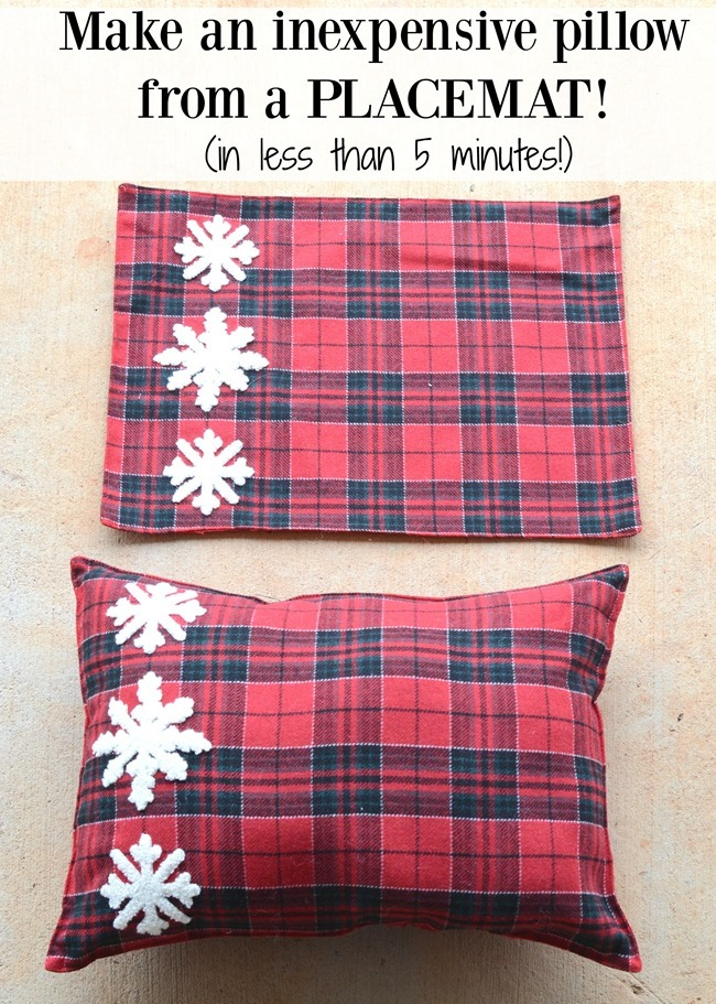 Make an inexpensive Christmas pillow from a placemat