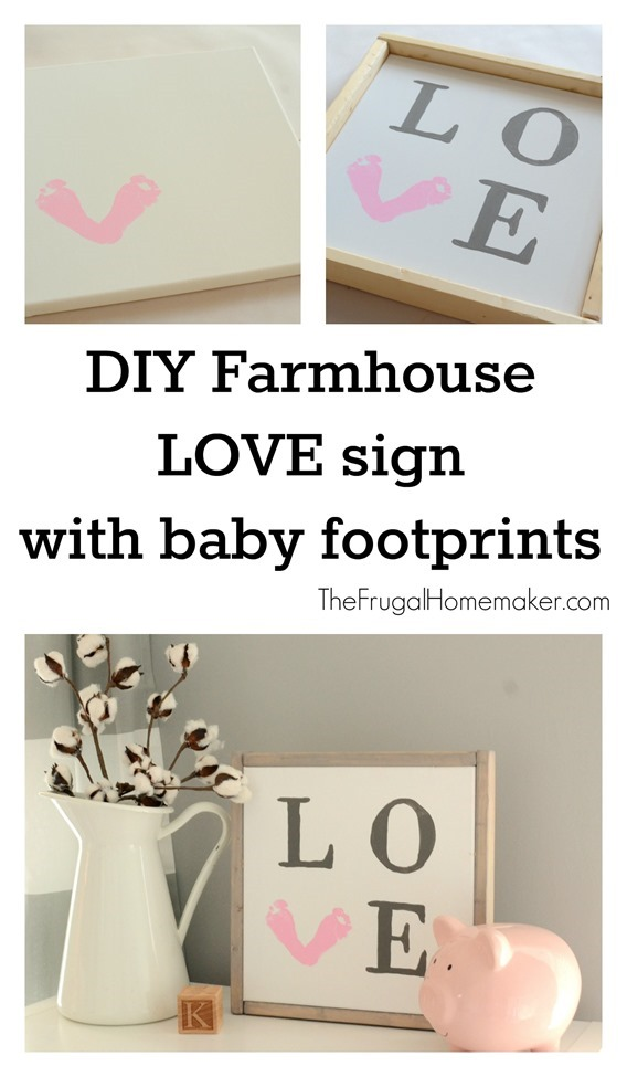 DIY Farmhouse LOVE baby footprint sign