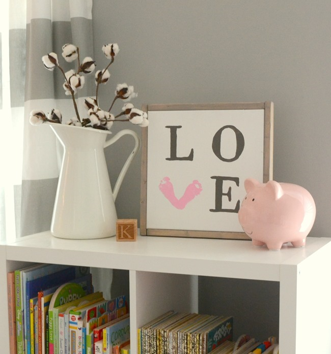 DIY Farmhouse LOVE baby footprint sign