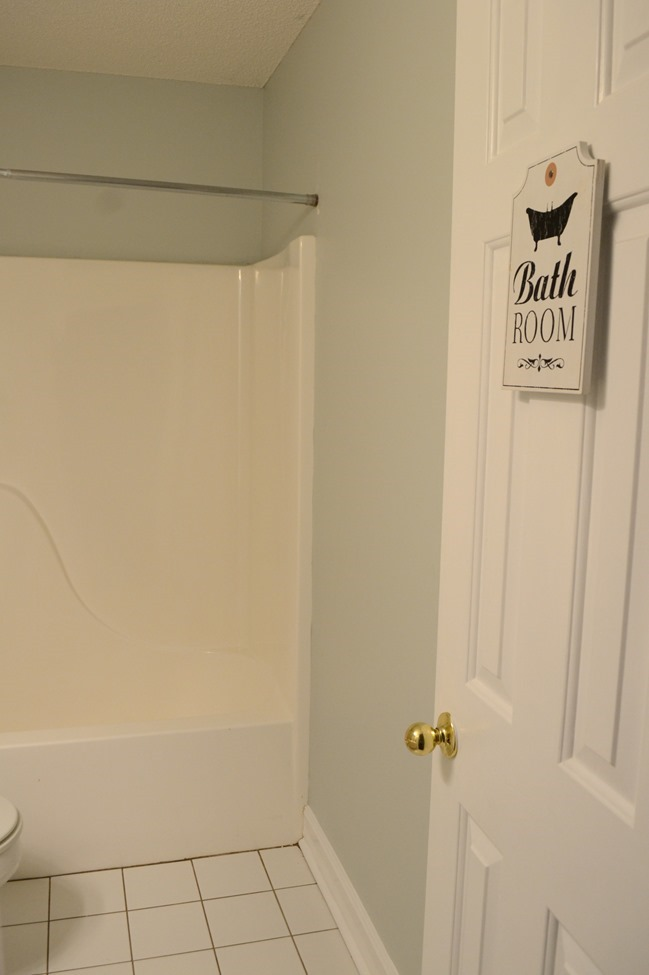 Guest Bathroom progress- new paint (SW Sea Salt mixed in Behr)