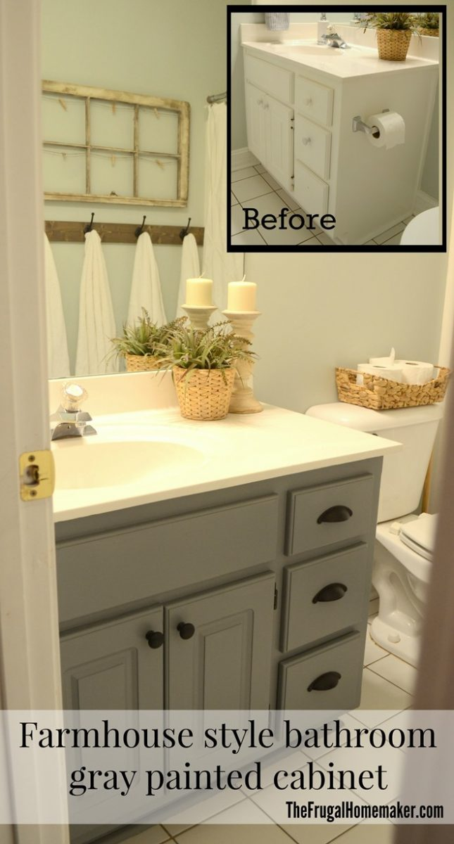 Guest bathroom update – Farmhouse style bathroom gray painted cabinet