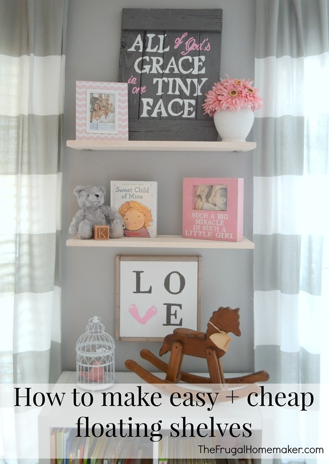 DIY Floating Shelves in the Nursery