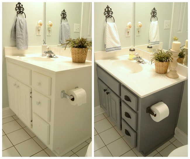 Painted bathroom cabinet before/after