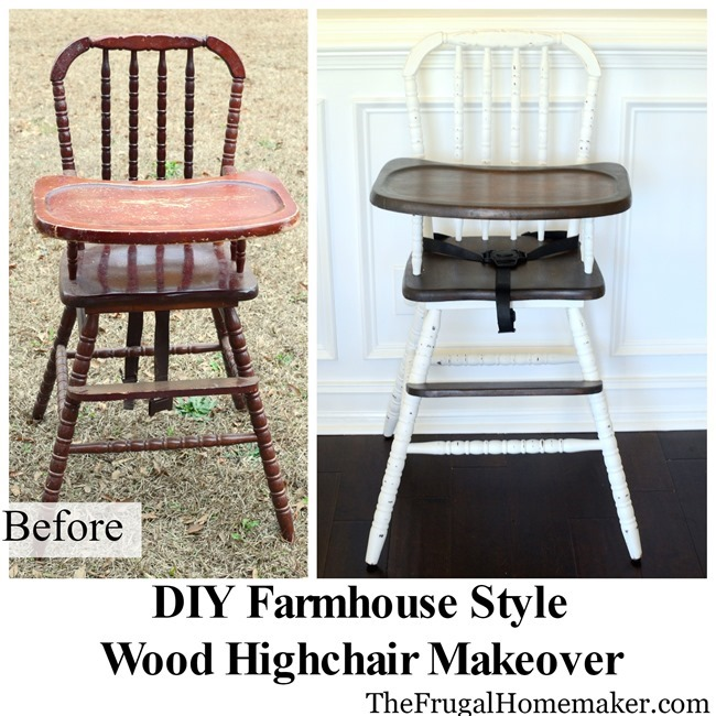 DIY Farmhouse style wood highchair makeover