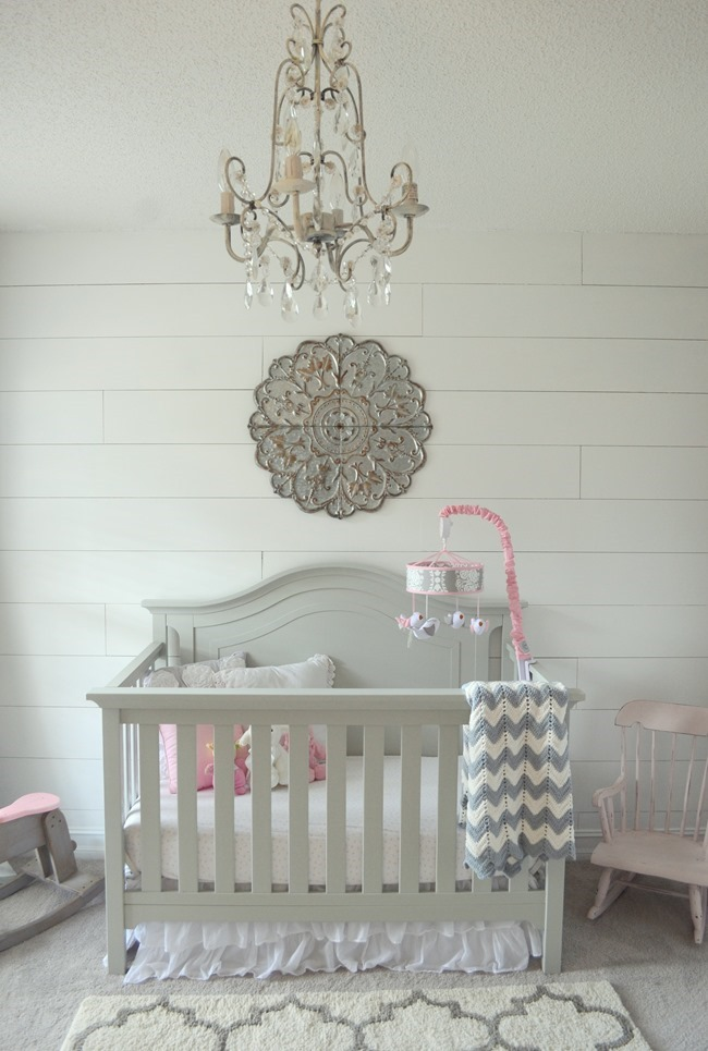 Shiplap wall in the nursery (how to install a faux shiplap wall for less than $30)