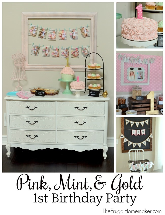 Pink, Mint, and Gold 1st Birthday Party