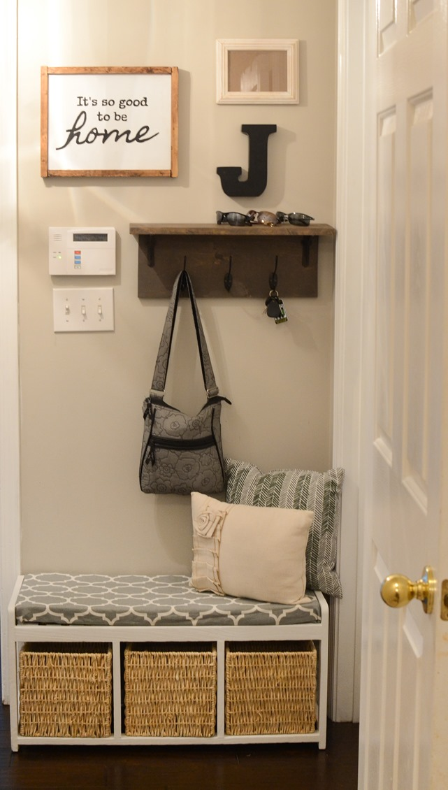 Mudroom gallery wall   DIY coat rack shelf-2