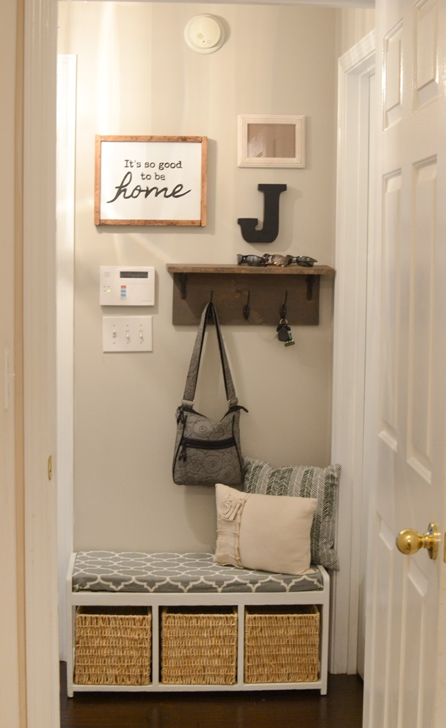 Mudroom gallery wall   DIY coat rack shelf-3