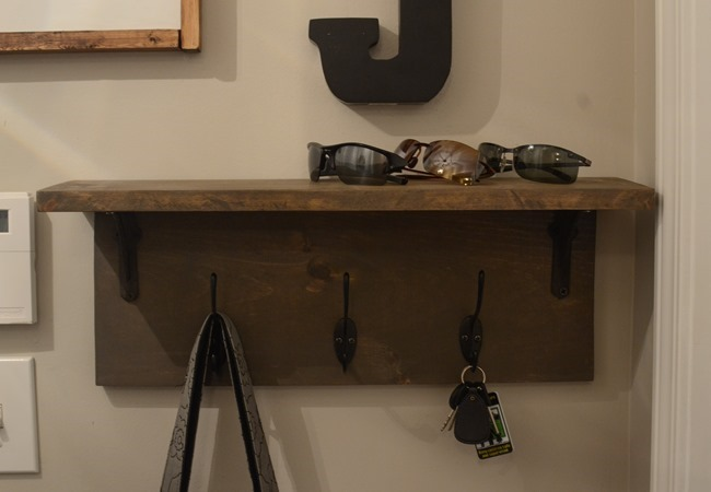 Mudroom gallery wall   DIY coat rack shelf-5