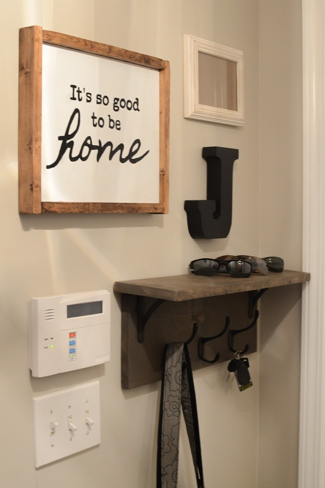 Mudroom gallery wall   DIY coat rack shelf-6