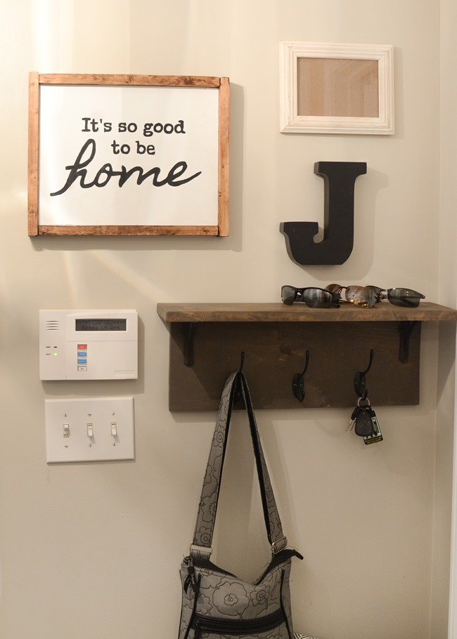 Mudroom gallery wall   DIY coat rack shelf-7