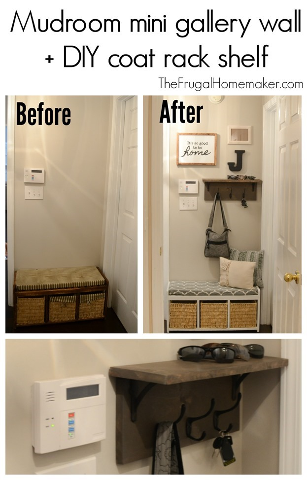 Mudroom mini gallery wall   DIY coat rack shelf