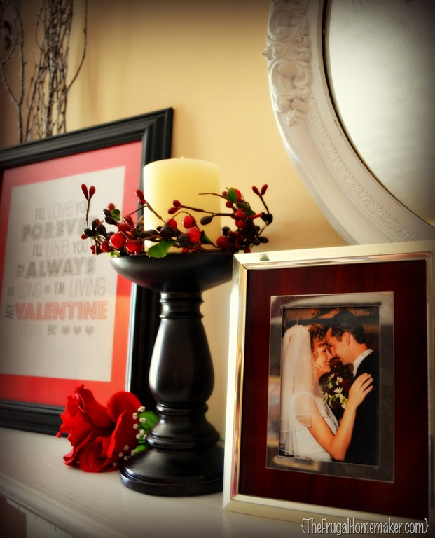 LOVE… is in the air and on the mantel {Valentine's Mantel}