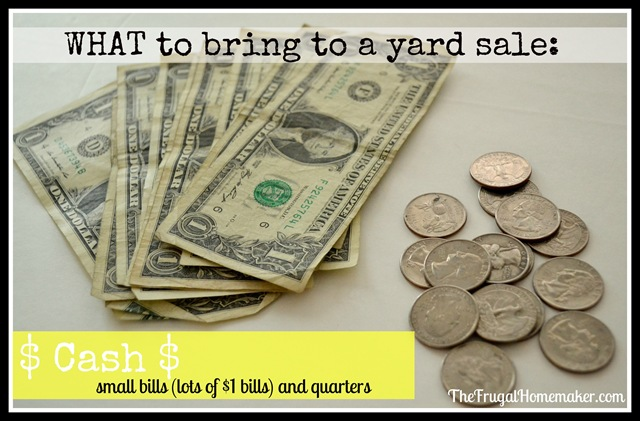 What to bring to a yard sale {How to shop yard sale series}