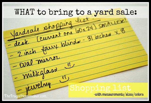 shopping list to yard sale