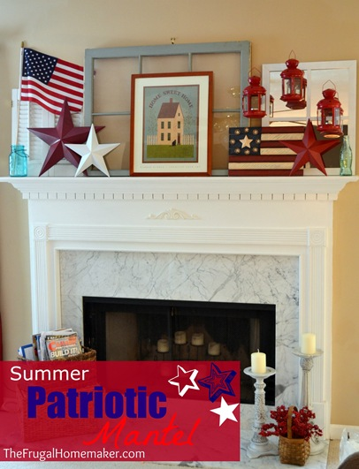 Summer begins with some red, white, and blue {Summer Patriotic mantel}