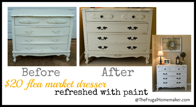 $20 flea market dresser re-do