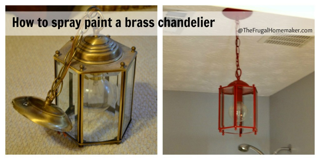 How to spray paint a brass light fixture or the RED chandelier in my bathroom (Beach-inspired bathroom makeover part 3)