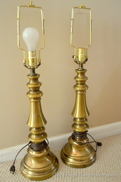 thrift store brass lamps before
