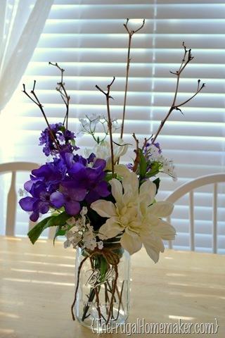flower arrangment with dried daylily stems