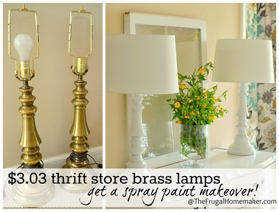Spray painted brass lamps