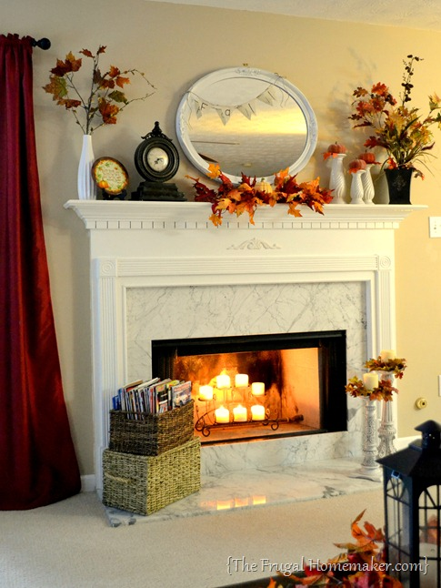 fall mantel with candles - 20 things I love about fall