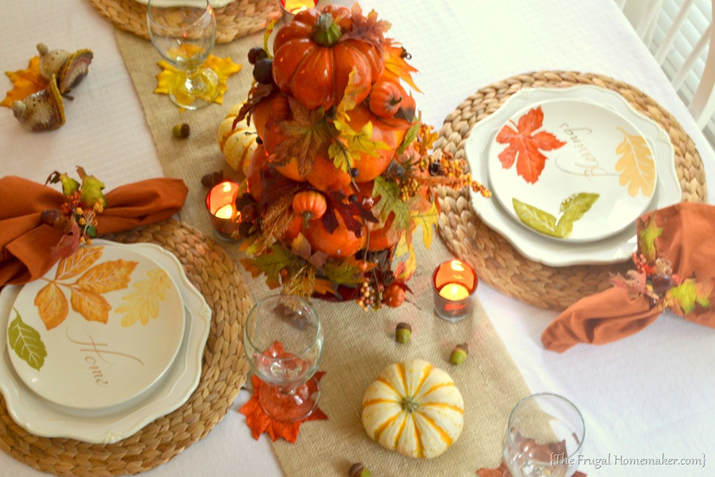 Fall Table Featuring Item Home Garden Line Wal Mart Decoration Thanksgiving Dinnerware
