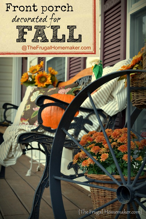 There's a pumpkin on my porch {Front porch decorated for Fall}