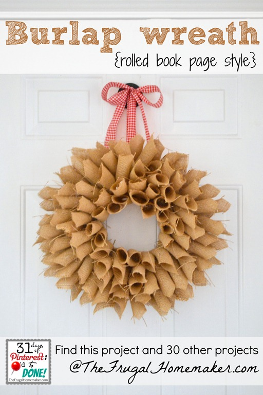 Burlap book page wreath {day 23 of 31 days of Pinterest: Pinned to Done}