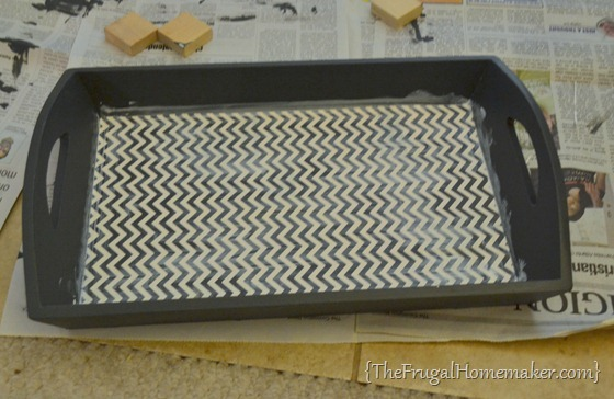 DIY Modpodged Chevron Tray