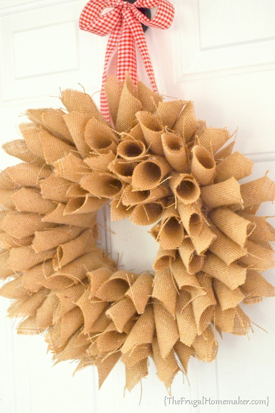 Burlap Book Page Wreath