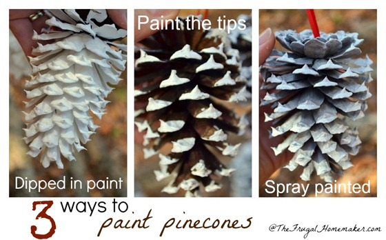 3 ways to paint pinecones–help me pick!