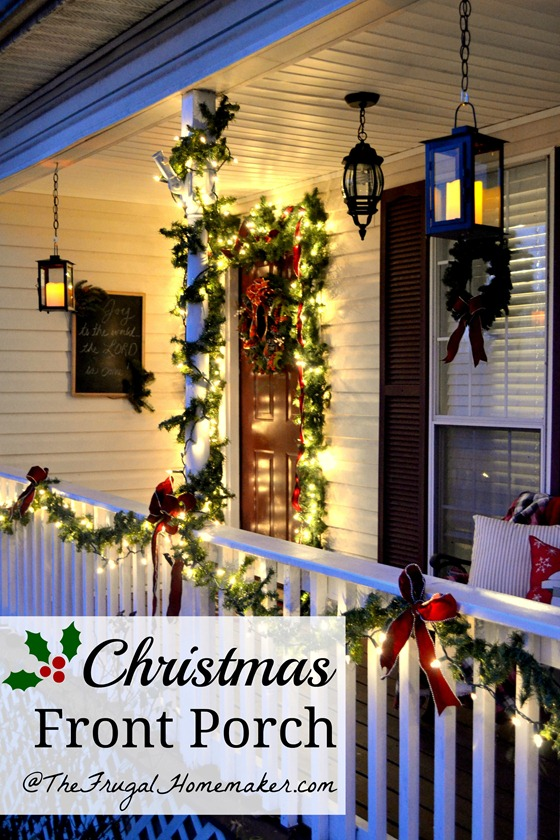 Christmas Front Porch with hanging candle lanterns
