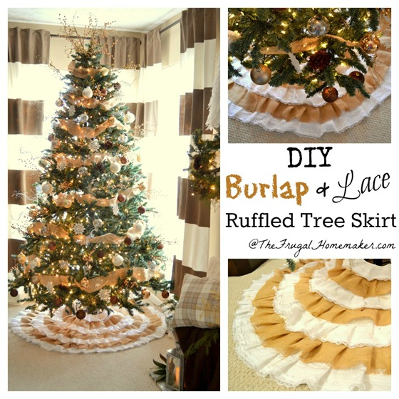 DIY Burlap + Lace Christmas Tree Skirt