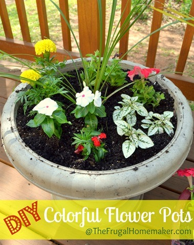 Color filled flower pots