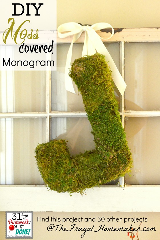 DIY Moss Covered Monogram tutorial {day 16 of 31 days of Pinterest}