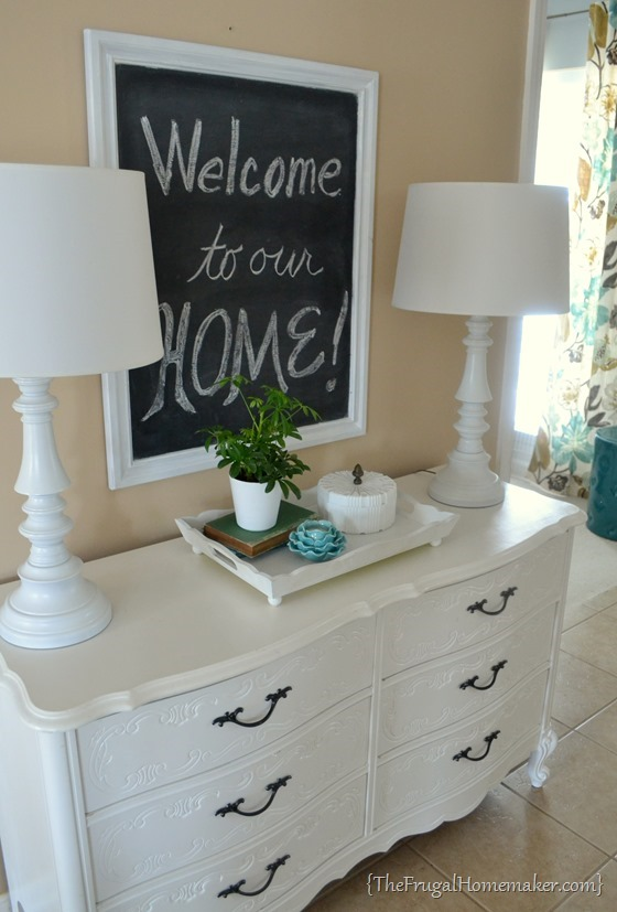 DIY painted white dresser