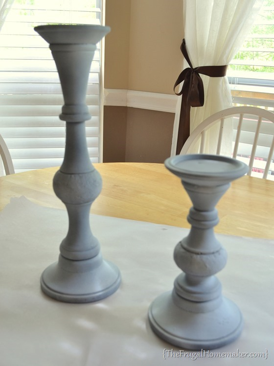 spray primer on candlesticks