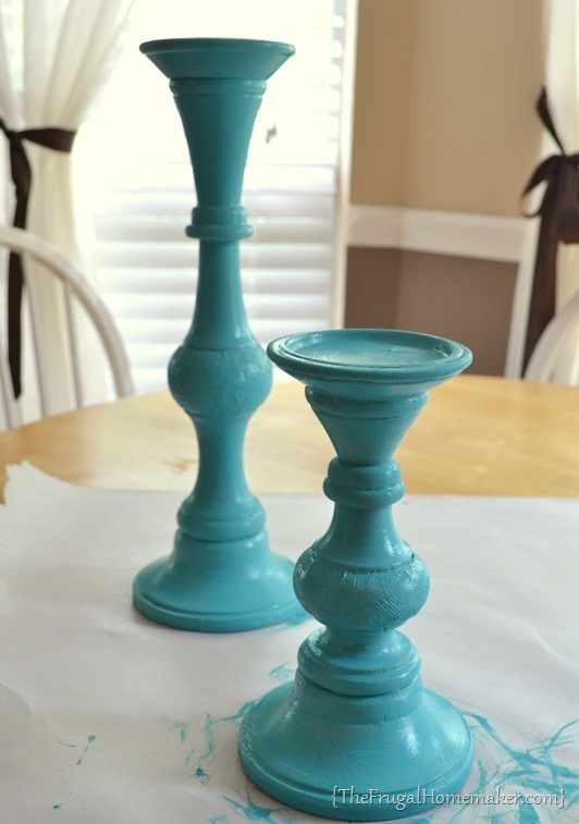 painted candlesticks with acrylic paint