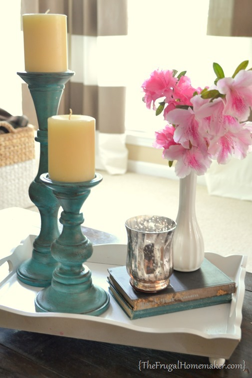 Yard sale candlesticks get a paint makeover