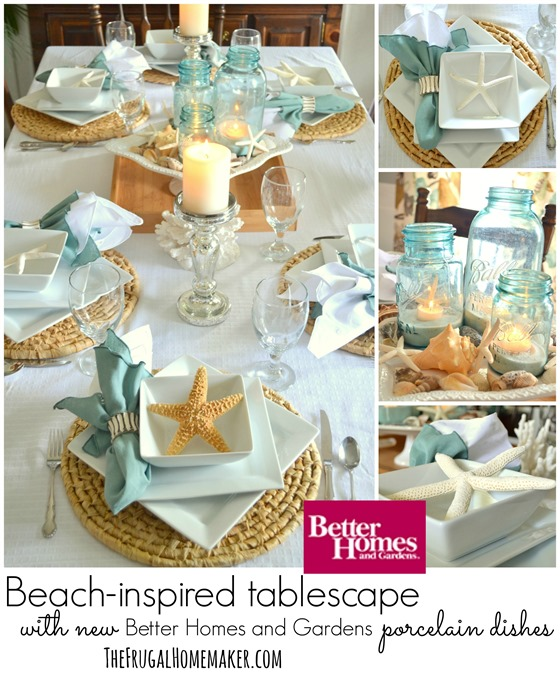 Beach-inspired tablescape with Better Homes and Gardens new porcelain dishes (+ entertaining tips for hosting a stress-free meal)
