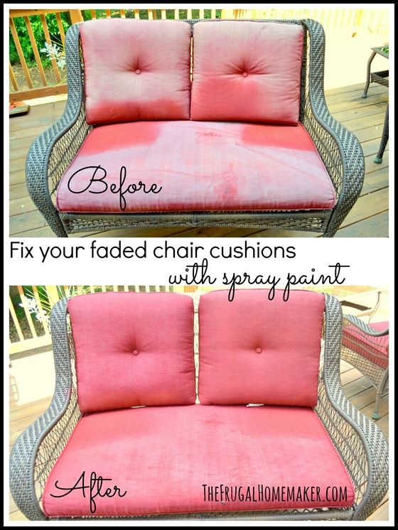 Fix your faded chair cushions with spray paint (update)