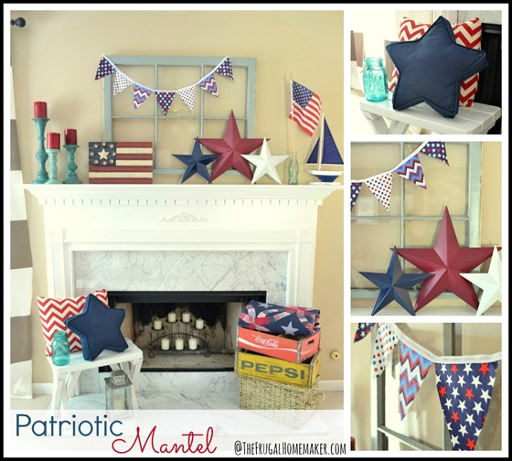 Patriotic Mantel (red, white, and blue mantel)